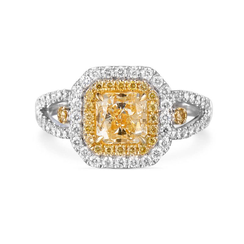 Fancy Light Yellow Diamond Ring, 1.80 Ct. TW, Radiant shape