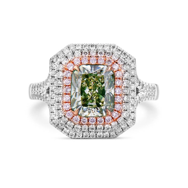 Fancy Grayish Yellowish Green Diamond Ring, 2.60 Ct. TW, Radiant shape, GIA Certified, 6241186413