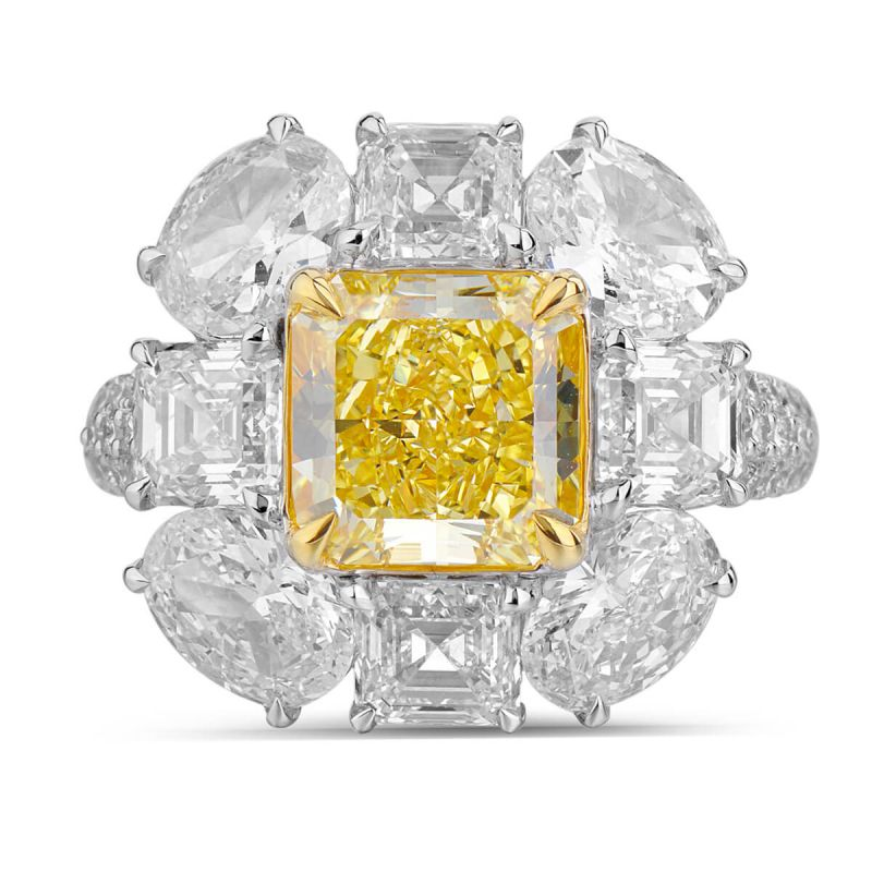 Fancy Vivid Yellow Diamond Ring, 6.79 Ct. TW, Radiant shape, GIA Certified, 2165495457