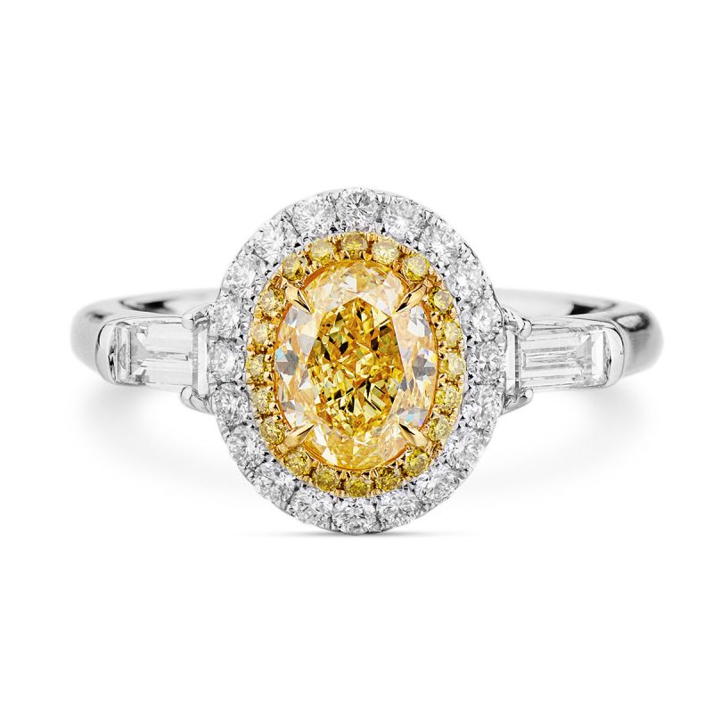 Fancy Yellow Diamond Ring, 1.04 Ct. (1.71 Ct. TW), Oval shape, GIA Certified, 2165820692