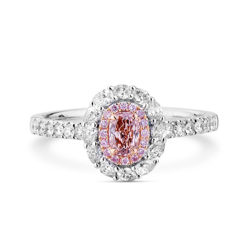 Light Pink Diamond Ring, 0.66 Ct. TW, Oval shape