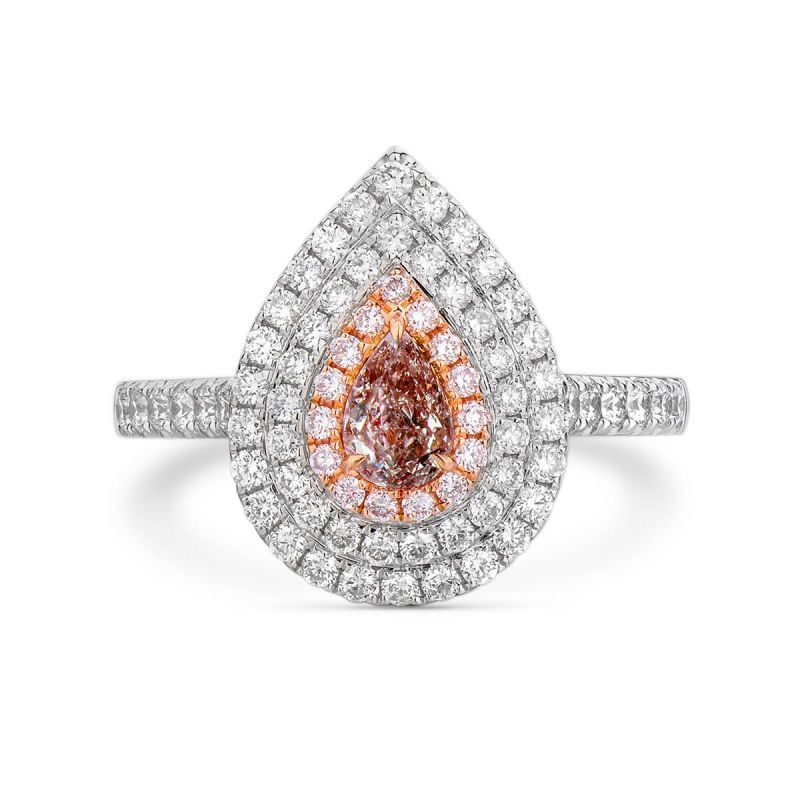 Light Pinkish Brown Diamond Ring, 0.95 Ct. TW, Pear shape, GIA Certified, 2185670912