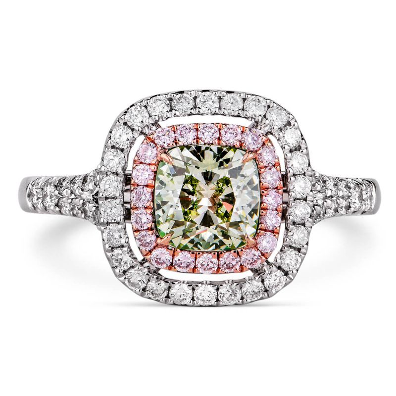 Fancy Grayish Yellowish Green Diamond Ring, 1.39 Ct. TW, Cushion shape, GIA Certified, 2166847371
