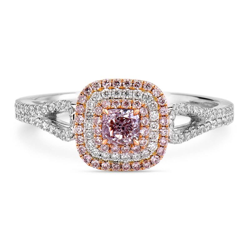 Faint Pink Diamond Ring, 0.54 Ct. TW, Cushion shape, GIA Certified, 5181475379