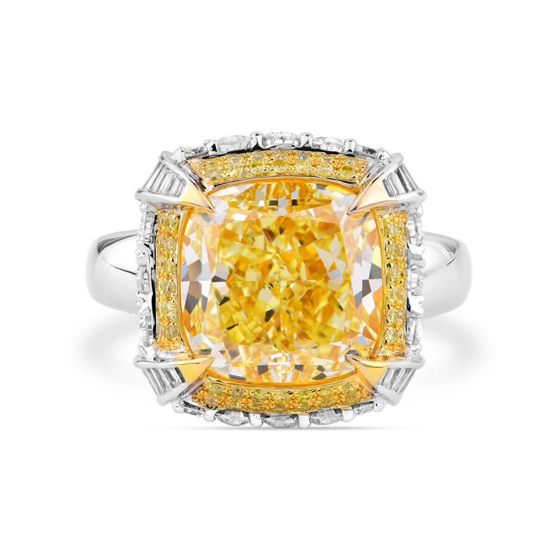 Fancy Yellow Diamond Ring, 8.63 Ct. TW, Cushion shape, GIA Certified, 5181908676