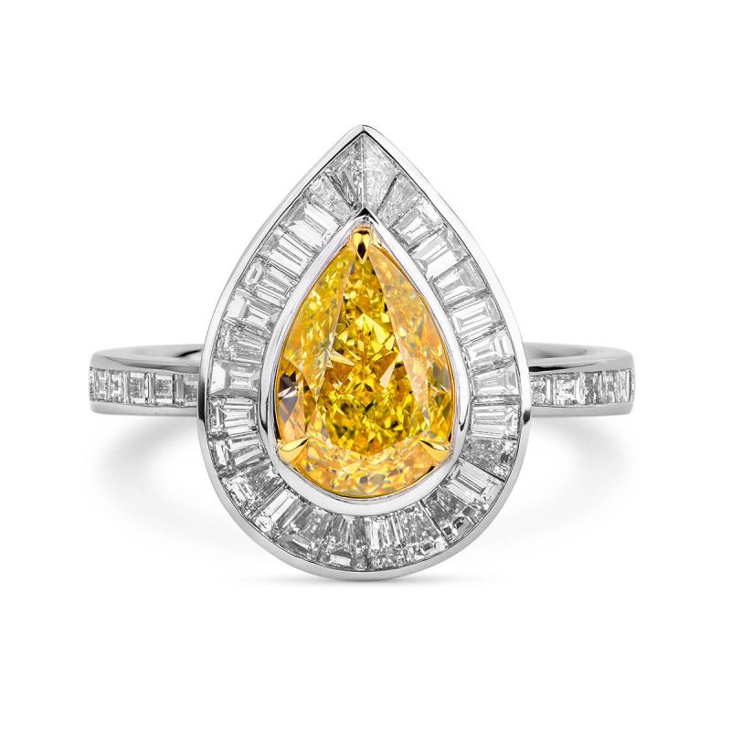 Fancy Yellow Diamond Ring, 3.08 Ct. TW, Pear shape, GIA Certified, 5181175492