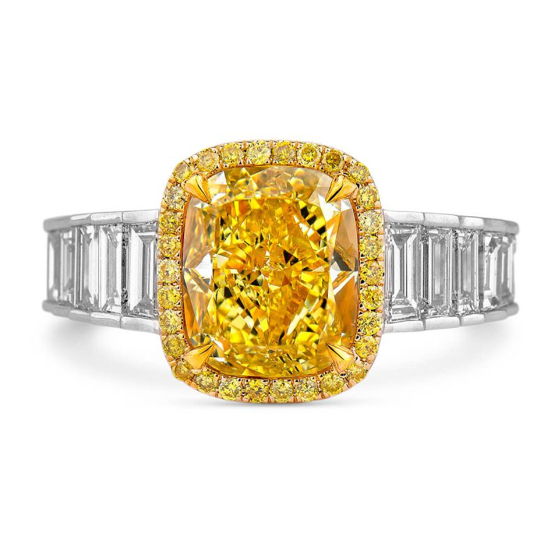 Fancy Intense Yellow Diamond Ring, 4.19 Ct. TW, Cushion shape, GIA Certified, 2175137047