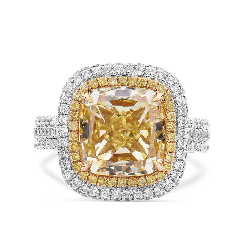 Fancy Intense Yellow Diamond Ring, 7.05 Ct. TW, Cushion shape, GIA Certified, 6177174127