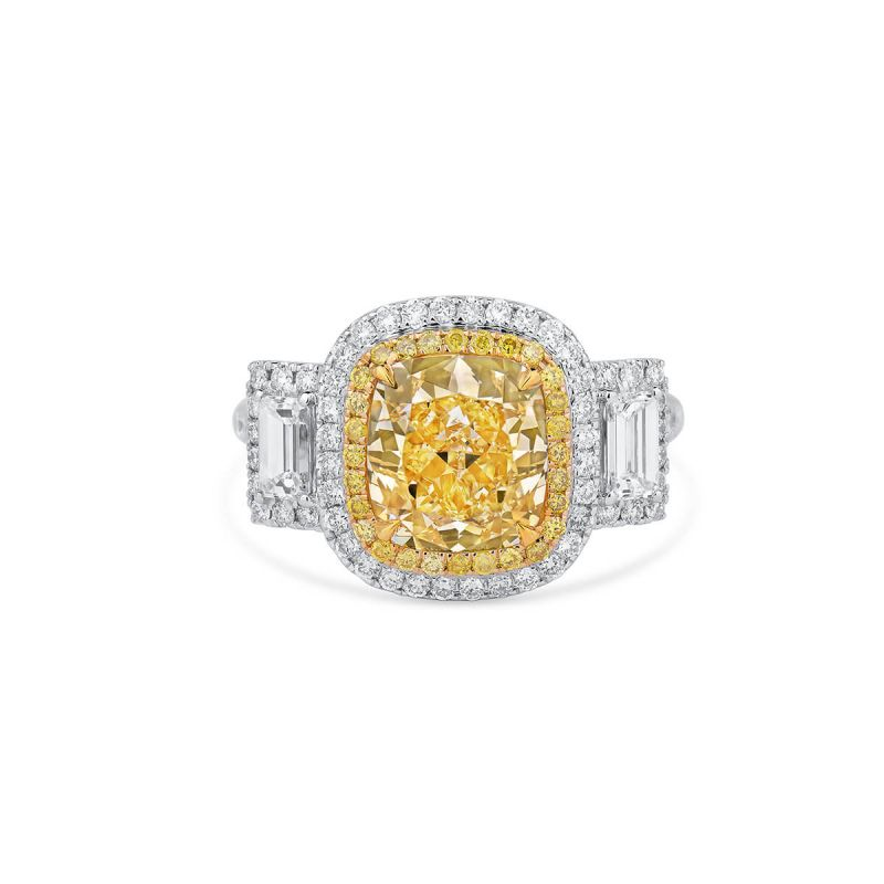 Fancy Yellow Diamond Ring, 4.54 Ct. TW, Cushion shape, GIA Certified, 2165634867
