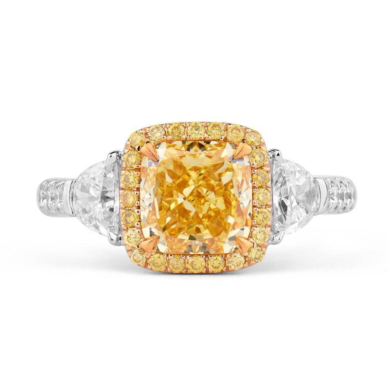 Fancy Vivid Yellow Diamond Ring, 2.83 Ct. TW, Radiant shape, GIA Certified, 1162913400