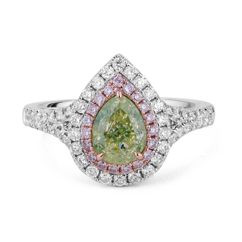 Fancy Light Greenish Yellow Diamond Ring, 1.56 Ct. TW, Pear shape, GIA Certified, 5182567503