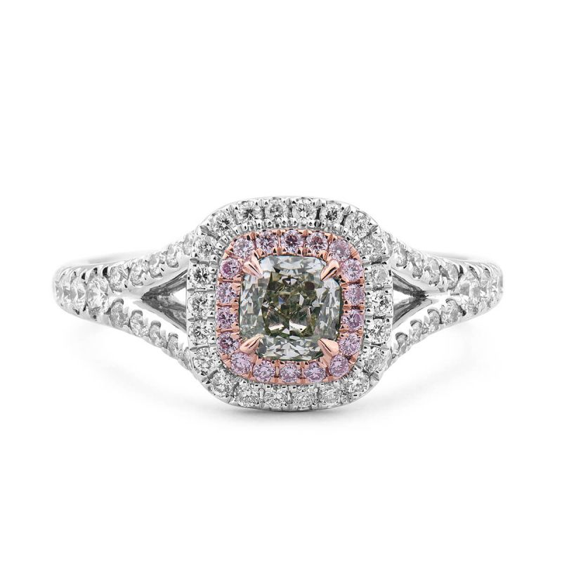 Fancy Grayish Yellowish Green Diamond Ring, 0.91 Ct. TW, Radiant shape, GIA Certified, 2166624728