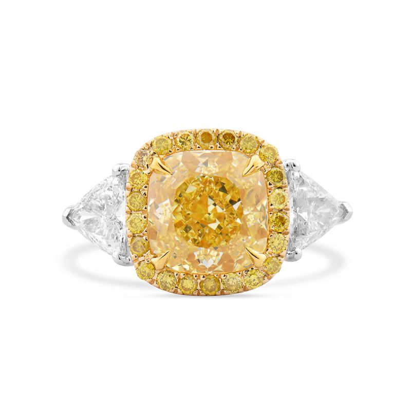 Fancy Intense Yellow Diamond Ring, 4.04 Ct. TW, Cushion shape, GIA Certified, 2185676947