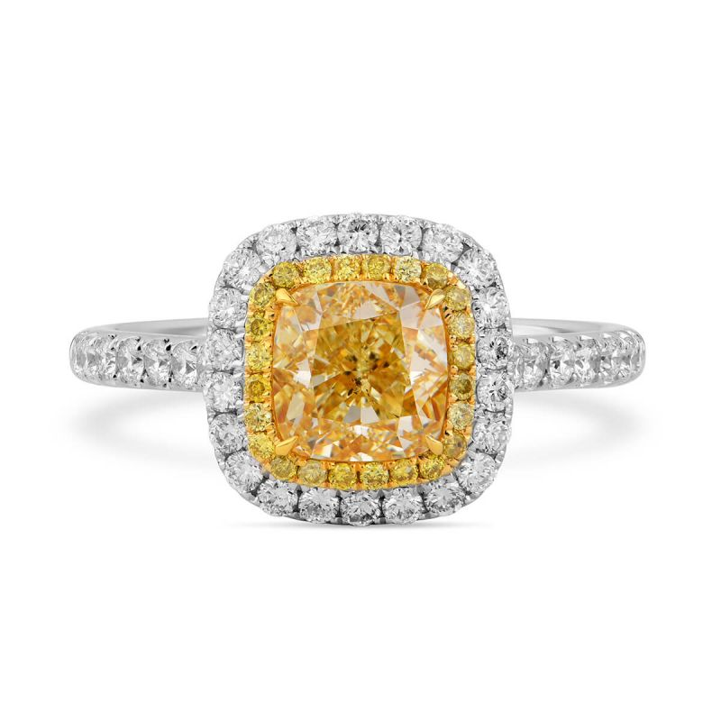 Fancy Intense Yellow Diamond Ring, 1.75 Ct. TW, Cushion shape