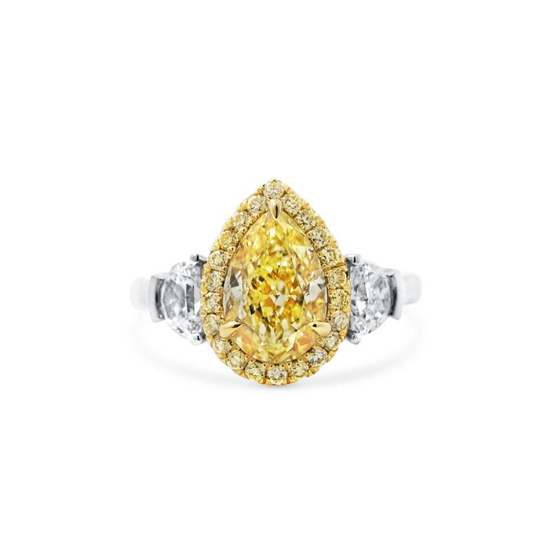 Fancy Light Yellow Diamond Ring, 3.30 Ct. TW, Pear shape, GIA Certified, 2181997975