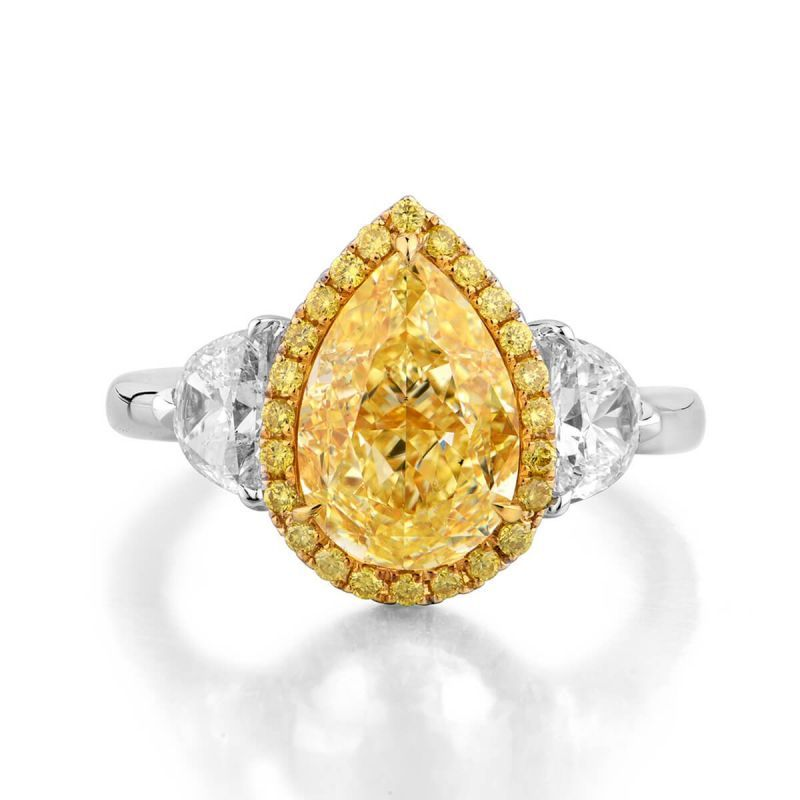 Fancy Light Yellow Diamond Ring, 3.85 Ct. TW, Pear shape, GIA Certified, 1285212564