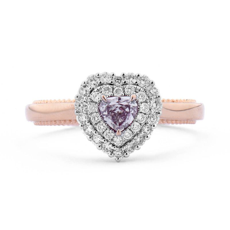 Light Pink Diamond Ring, 0.47 Ct. TW, Heart shape, GIA Certified, 2195256254