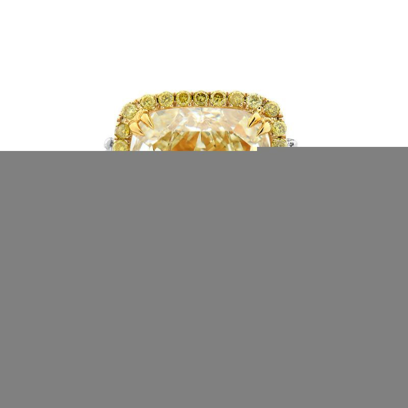 Fancy Yellow Diamond Ring, 6.85 Ct. TW, Cushion shape, GIA Certified, 2191349417