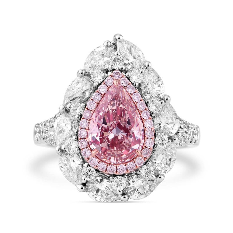 Fancy Brownish Pink Diamond Ring, 3.41 Ct. TW, Pear shape, GIA Certified, 6177237225