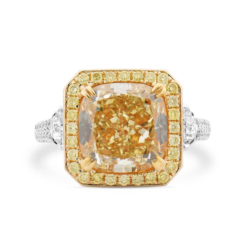 Fancy Yellow Diamond Ring, 6.68 Ct. TW, Cushion shape, GIA Certified, 5192139688