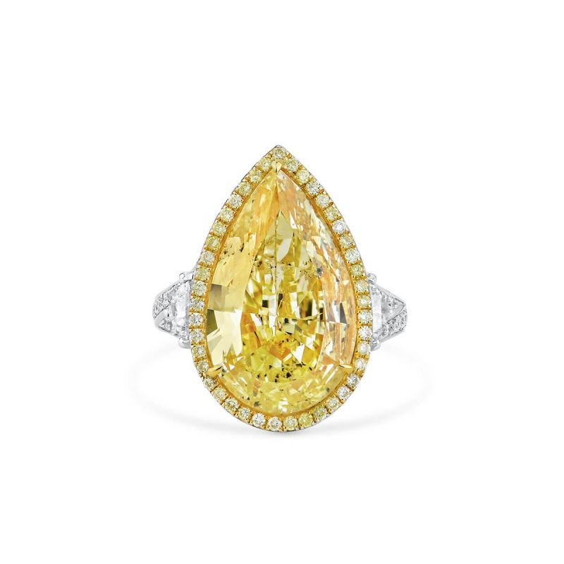 Fancy Light Yellow Diamond Ring, 10.94 Ct. TW, Pear shape, GIA Certified, 2155101503