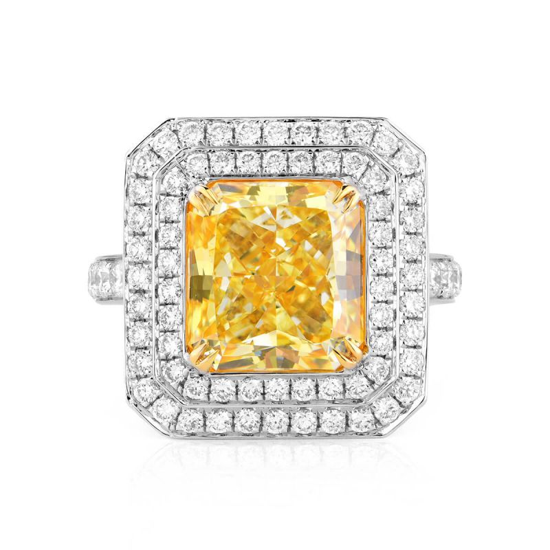 Light Yellow (Y-Z) Diamond Ring, 5.01 Ct. (6.01 Ct. TW), Radiant shape, GIA Certified, 6197229150