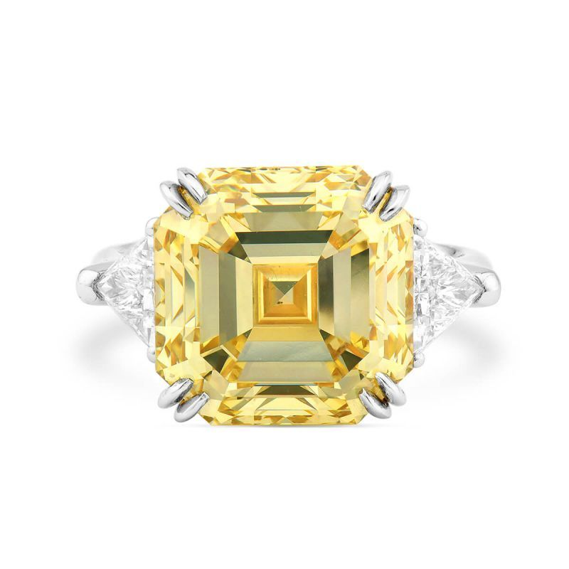 Fancy Yellow Diamond Ring, 10.02 Ct. (10.69 Ct. TW), Asscher shape, GIA Certified, 2191251604