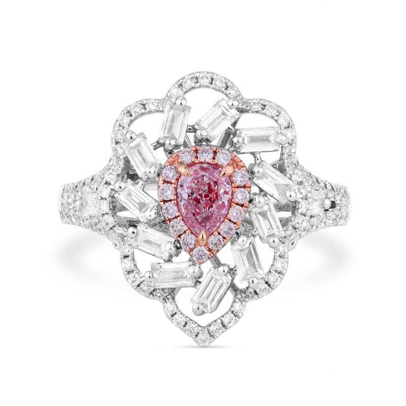 Faint Pink Diamond Ring, 1.16 Ct. TW, Pear shape, GIA Certified, 6193308493