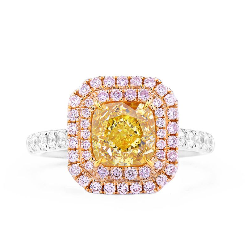 Fancy Yellow Diamond Ring, 1.78 Ct. (2.33 Ct. TW), Cushion shape, GIA Certified, 6281534708