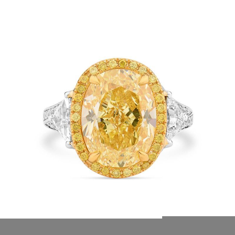 Fancy Yellow Diamond Ring, 7.03 Ct. (8.22 Ct. TW), Oval shape, GIA Certified, 2185059309