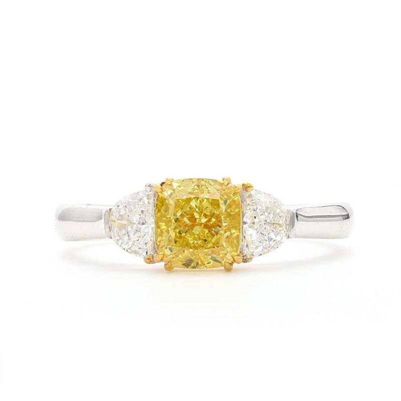Fancy Intense Yellow Diamond Ring, 1.27 Ct. (1.65 Ct. TW), Cushion shape, GIA Certified, 5246169460