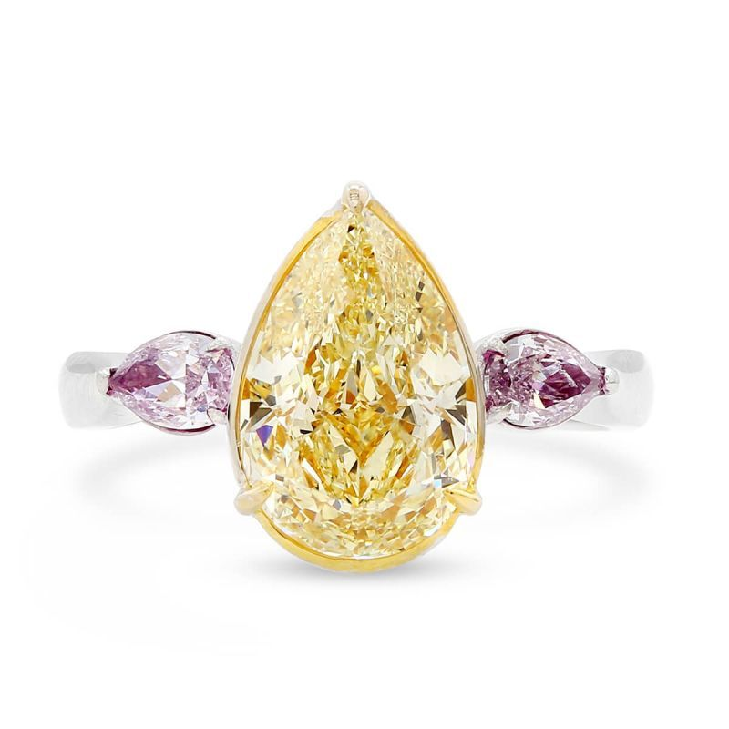 Fancy Yellow Diamond Ring, 2.51 Ct. (2.86 Ct. TW), Pear shape, GIA Certified, JCRF05426597