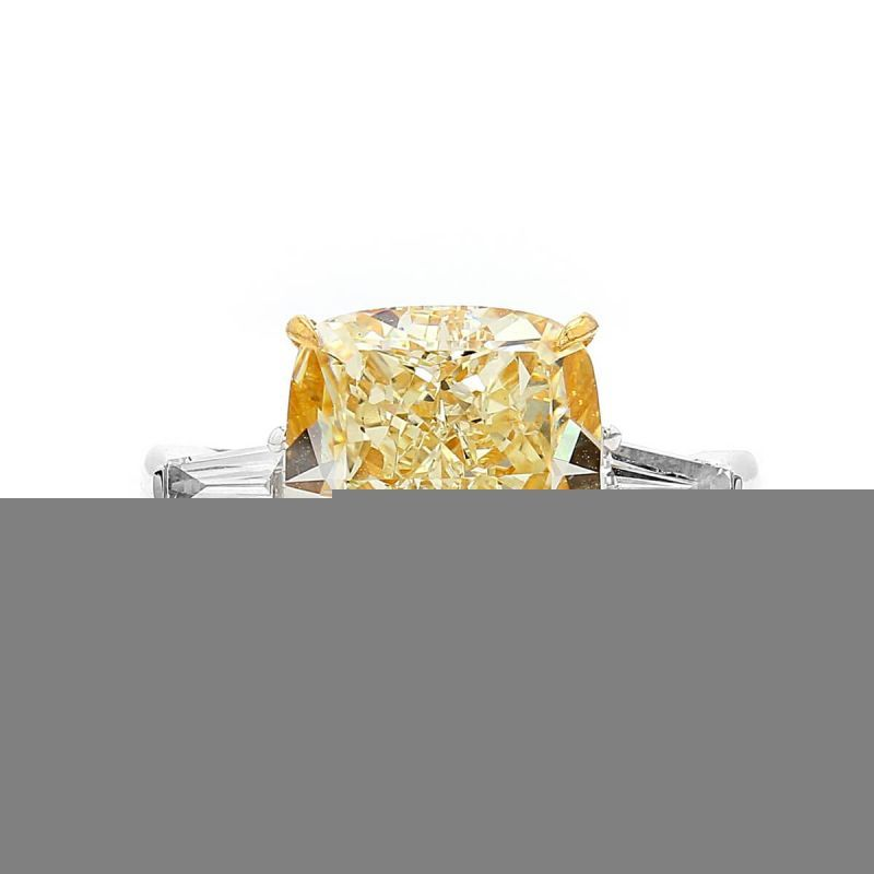 Light Yellow (Y-Z) Diamond Ring, 6.19 Ct. (6.56 Ct. TW), Cushion shape, GIA Certified, 2195520342