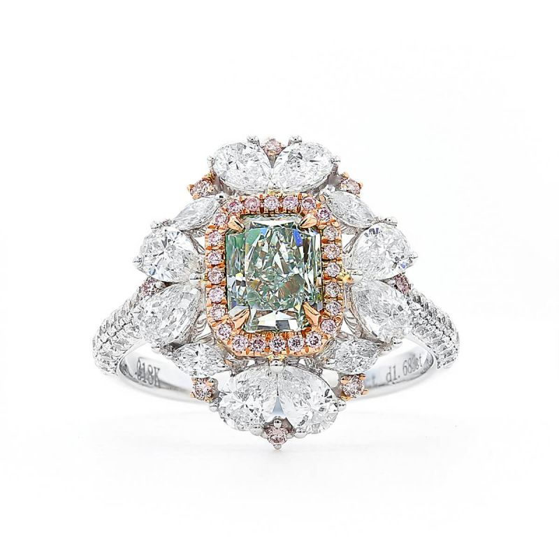 Fancy Light Green Diamond Ring, 1.09 Ct. (2.77 Ct. TW), Radiant shape, GIA Certified, 1182237229