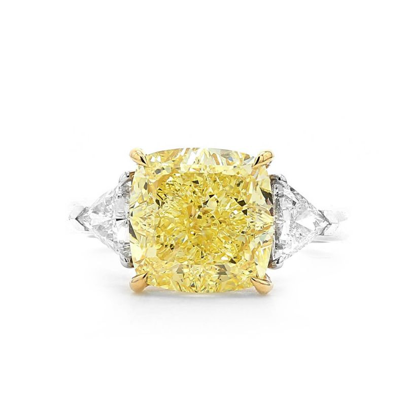 Fancy Intense Yellow Diamond Ring, 5.91 Ct. (6.56 Ct. TW), Cushion shape, GIA Certified, 6192733497
