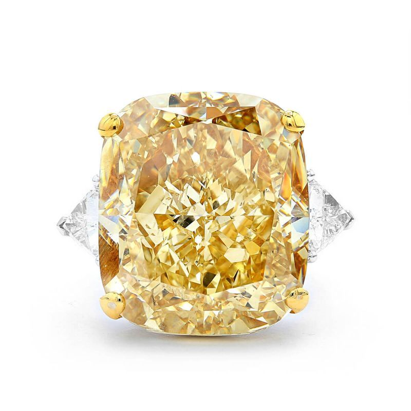 Fancy Brownish Yellow Diamond Ring, 35.14 Ct. (36.42 Ct. TW), Cushion shape, GIA Certified, 5172846305