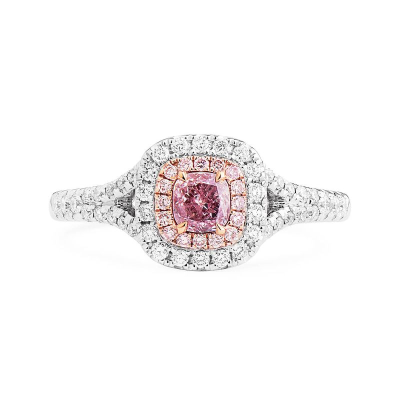 Fancy Light Pinkish Purple Diamond Ring, 0.30 Ct. (0.62 Ct. TW), Cushion shape, GIA Certified, 2185967068