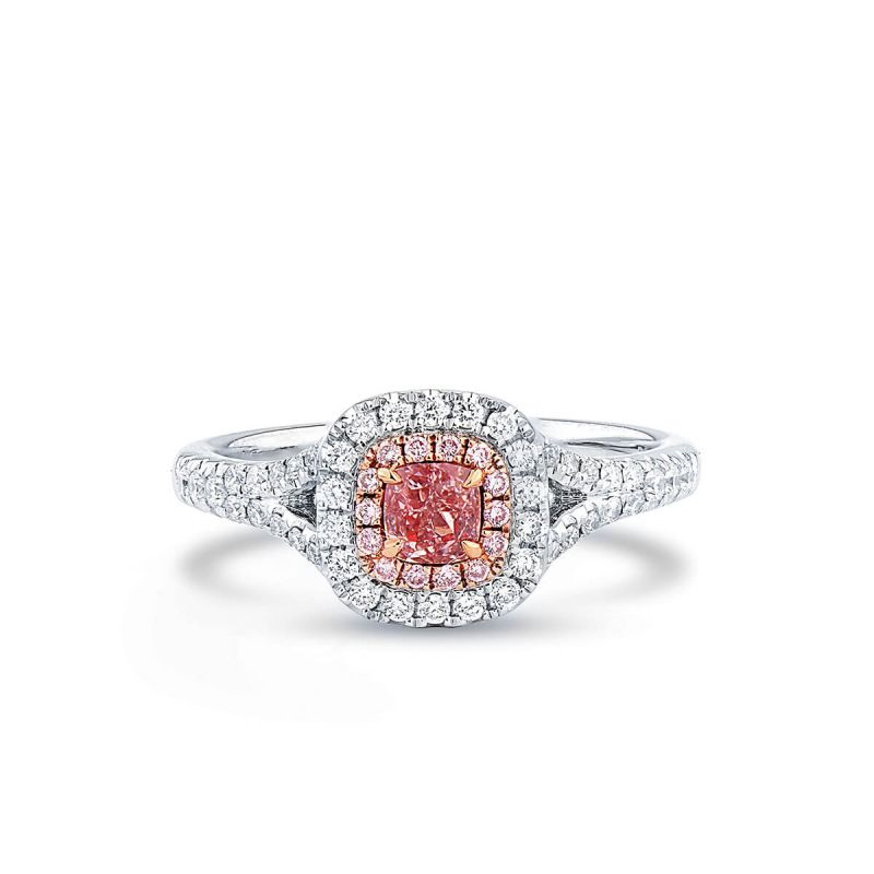 Fancy Orangy Pink Diamond Ring, 0.27 Ct. (0.58 Ct. TW), Cushion shape, GIA Certified, 2195418559