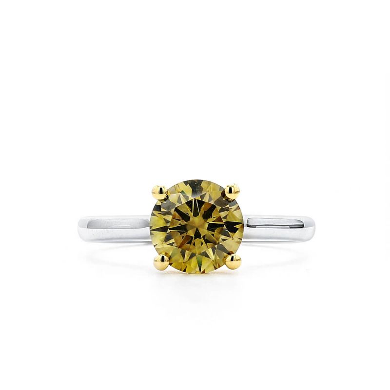 Fancy Deep Brownish Greenish Yellow Diamond Ring, 1.65 Carat, Round shape, GIA Certified, 2166122397