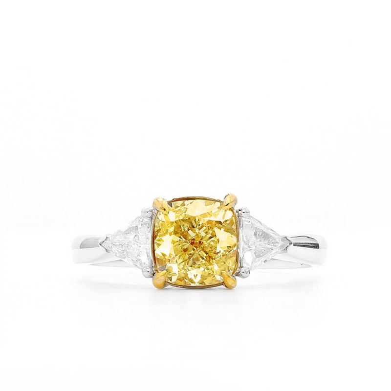 Fancy Yellow Diamond Ring, 1.37 Ct. (1.76 Ct. TW), Cushion shape, GIA Certified, 2297425065