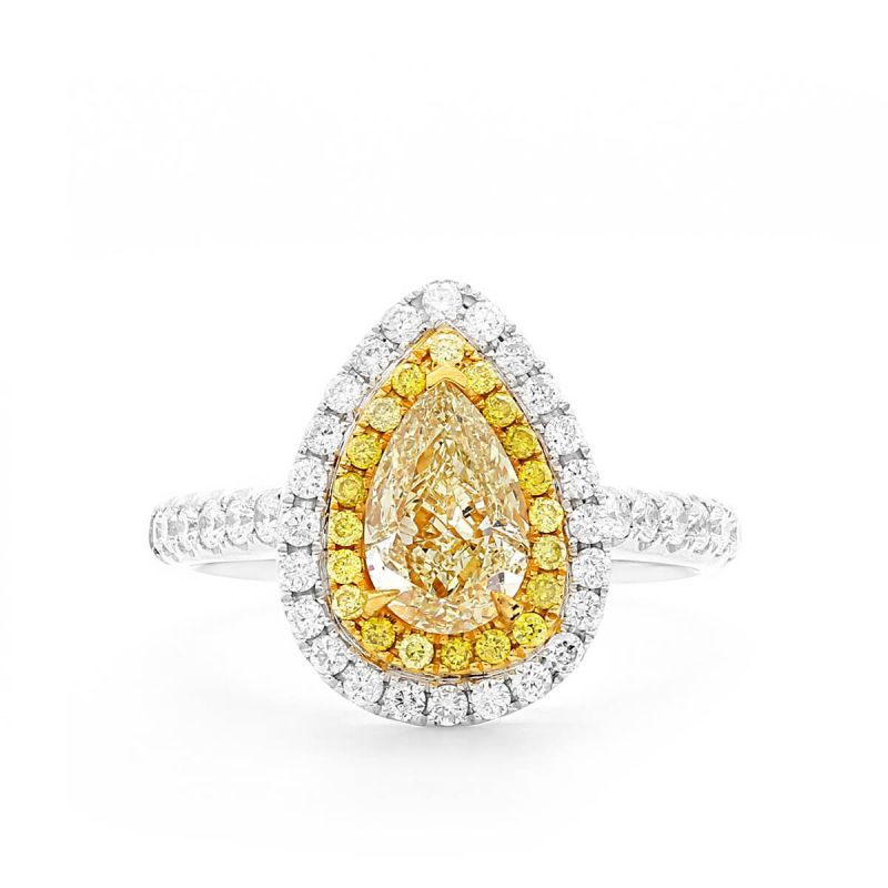 Fancy Yellow Diamond Ring, 1.05 Ct. (1.65 Ct. TW), Pear shape, GIA Certified, 5296194984