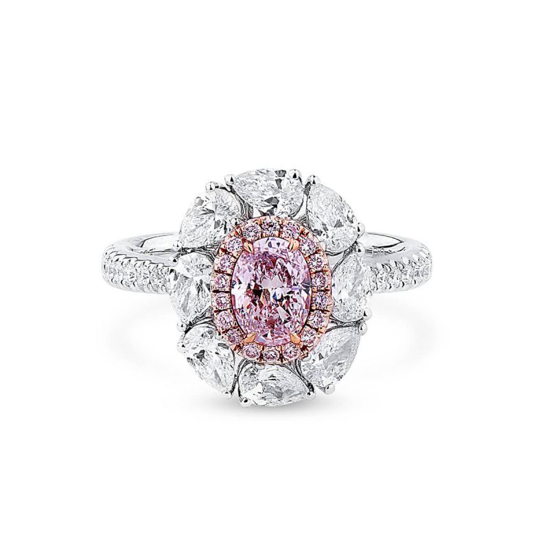 Light Pink Diamond Ring, 0.53 Ct. (1.79 Ct. TW), Oval shape, GIA Certified, 2294190282