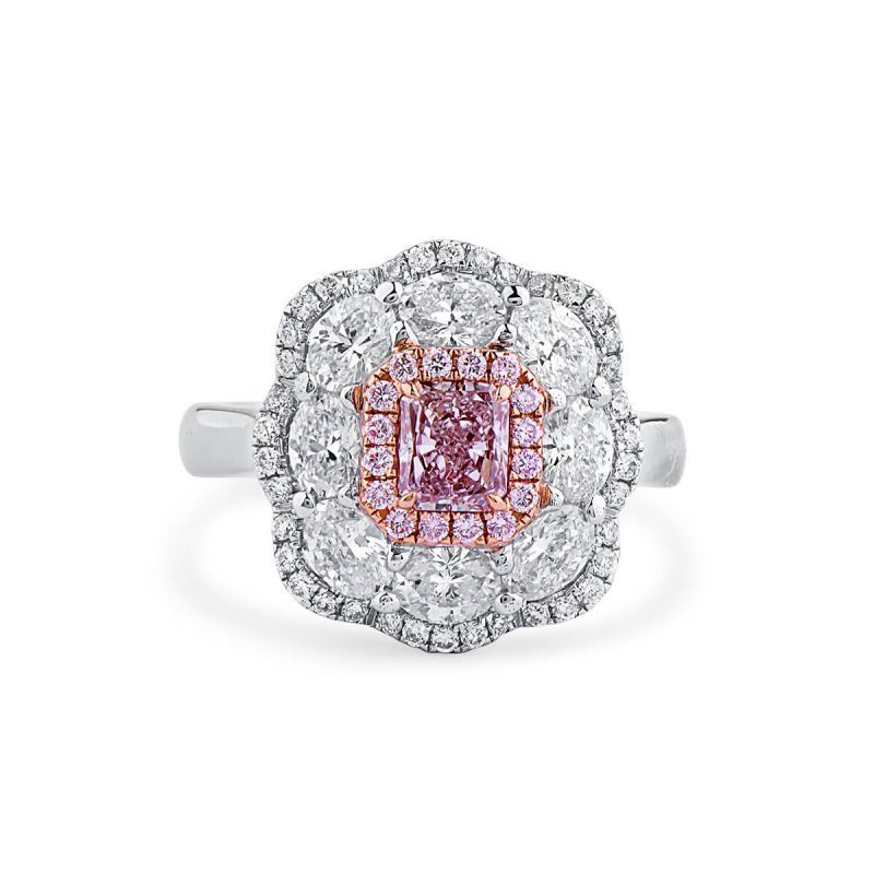 Light Pink Diamond Ring, 0.55 Ct. (2.17 Ct. TW), Cushion shape, GIA Certified, 5191237480
