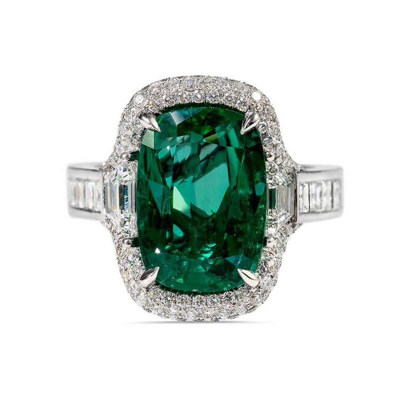 Natural GREEN Zambia Emerald Ring, 5.81 Carat, GRS Certified, GRS2016-111478, Unheated