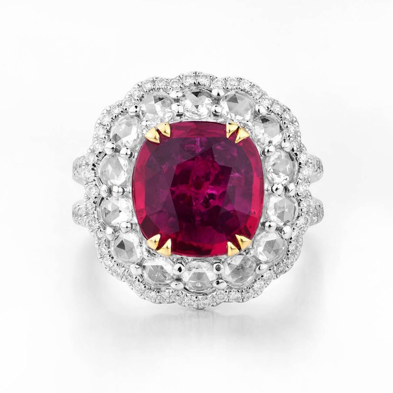 Natural Vivid Red Mozambique Ruby Ring, 3.03 Ct. (5.00 Ct. TW), GIA Certified, GRS2016-042732, Unheated