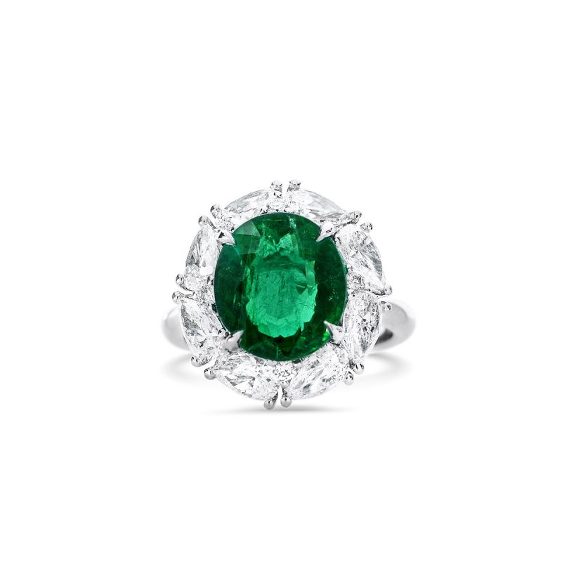 Natural Vivid Green Emerald Ring, 4.33 Ct. (7.44 Ct. TW), GRS Certified, GRS2017-028079, Unheated