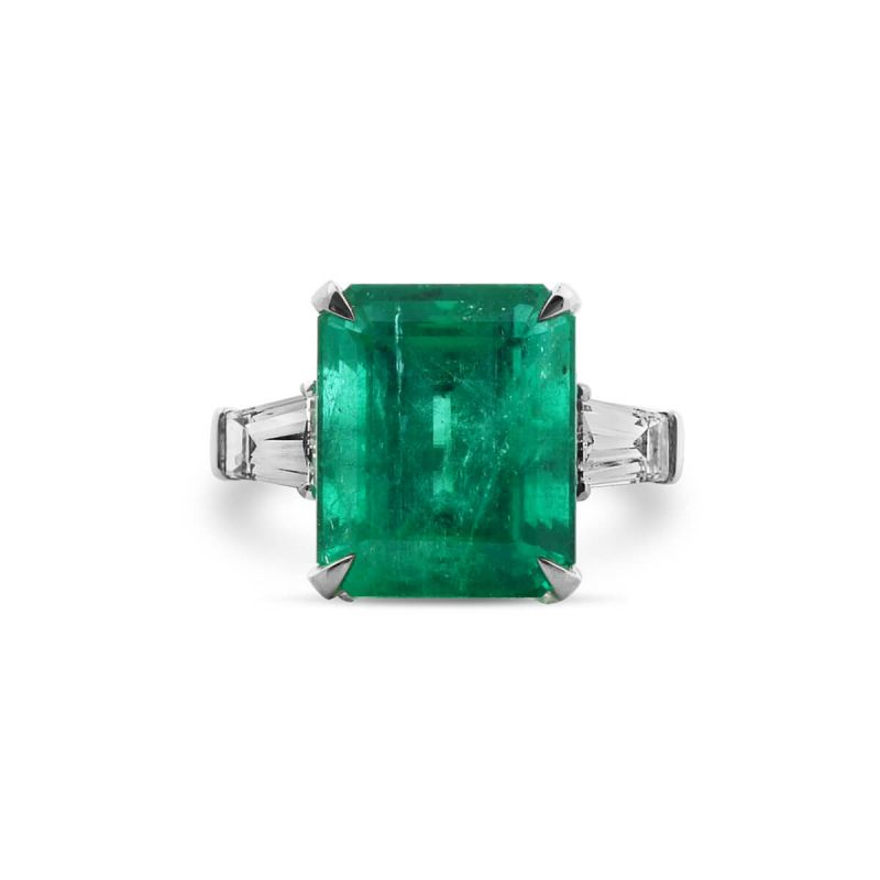 Natural Green Colombia Emerald Ring, 8.10 Ct. (8.94 Ct. TW), GRS Certified, GRS2017-088477, Unheated