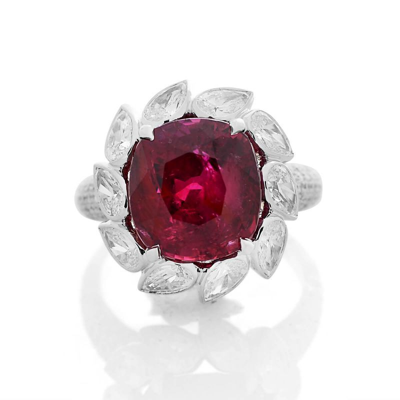 Natural Vivid Red Ruby Ring, 9.08 Ct. (11.94 Ct. TW), Unheated