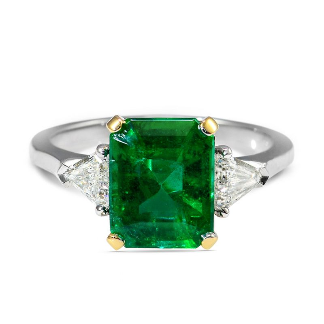 Natural Green Emerald Ring, 2.98 Carat, IGL Certified, J85150076IL, Unheated