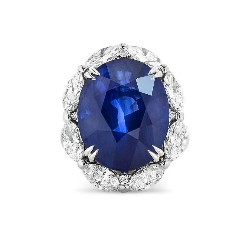 Natural Vivid Blue Sri-Lanka Sapphire Ring, 18.92 Ct. TW, GRS Certified, GRS2016-101924, Unheated